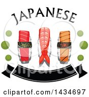 Clipart Of A Sushi Nigiri With Prawn Salmon And Tuna With Wasabi Dots Text And A Banner Royalty Free Vector Illustration
