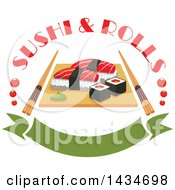 Clipart Of Sushi Rolls And Salmon Nigiri Sushi And Wasabi On Wooden Platter With Chopsticks And Text Over A Banner Royalty Free Vector Illustration