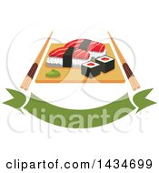 Clipart Of Sushi Rolls And Salmon Nigiri Sushi And Wasabi On Wooden Platter With Chopsticks Over A Banner Royalty Free Vector Illustration