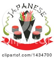Clipart Of Japanese Sushi Rolls Shrimps And Rice In Seaweed Nori With Wasabi And Text Over A Red Banner Royalty Free Vector Illustration