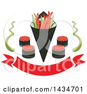 Clipart Of Japanese Sushi Rolls Shrimps And Rice In Seaweed Nori With Wasabi Over A Red Banner Royalty Free Vector Illustration