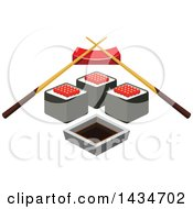 Clipart Of A Sushi Roll With Red Caviar Soy Sauce And Chopsticks On A Rest Royalty Free Vector Illustration