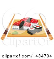 Clipart Of Sushi Rolls And Salmon Nigiri Sushi And Wasabi On Wooden Platter With Chopsticks Royalty Free Vector Illustration by Vector Tradition SM
