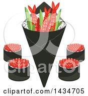 Clipart Of Japanese Sushi Rolls Shrimps And Rice In Seaweed Nori Royalty Free Vector Illustration by Vector Tradition SM