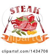 Clipart Of Beef Steaks With Herbs Bbq Forks Text And A Banner Royalty Free Vector Illustration