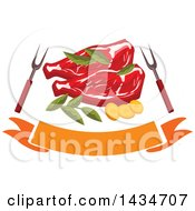 Clipart Of Beef Steaks With Herbs Bbq Forks And A Banner Royalty Free Vector Illustration by Vector Tradition SM