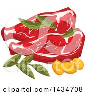 Clipart Of Beef Steaks With Herbs Royalty Free Vector Illustration