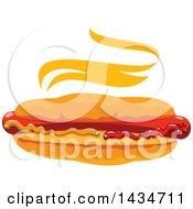 Clipart Of A Steamy Hot Dog In A Bun With Mustard And Ketchup Royalty Free Vector Illustration by Vector Tradition SM