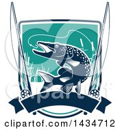Clipart Of A Pike Fish Leaping To Bite A Hook With Reels And A Banner Over A Shield Royalty Free Vector Illustration