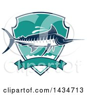 Clipart Of A Marlin Fish In A Shield Over A Banner Royalty Free Vector Illustration by Vector Tradition SM