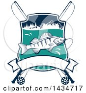 Clipart Of A Fish In A Shield With Mountains Lake And Crossed Fishing Poles Over A Banner Royalty Free Vector Illustration