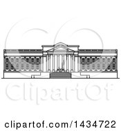 Clipart Of A Black And White Line Drawing Styled American Landmark Museum Of Art Royalty Free Vector Illustration