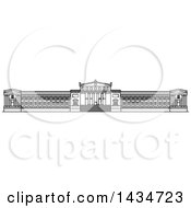 Clipart Of A Black And White Line Drawing Styled American Landmark Field Museum Of Natural History Royalty Free Vector Illustration