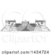 Clipart Of A Black And White Line Drawing Styled American Landmark The Franklin Institute Royalty Free Vector Illustration