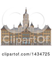 Clipart Of A Line Drawing Styled American Landmark Salt Lake City And County Building Royalty Free Vector Illustration