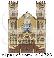 Clipart Of A Line Drawing Styled American Landmark Cathedral Of The Madeleine Royalty Free Vector Illustration