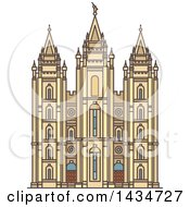 Clipart Of A Line Drawing Styled American Landmark Salt Lake Temple Royalty Free Vector Illustration