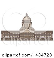 Clipart Of A Line Drawing Styled American Landmark Utah State Capitol Royalty Free Vector Illustration