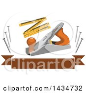 Poster, Art Print Of Carpentry Jake Plane Ruler And Nails Over A Brown Banner