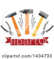 Clipart Of A Blank Banner With Hammers Mallets Nails And Pliers Royalty Free Vector Illustration by Vector Tradition SM