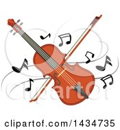 Crossed Violin Or Viola And Bow Over Music Notes