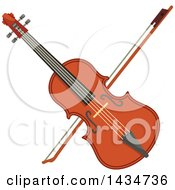 Clipart Of A Crossed Violin Or Viola And Bow Royalty Free Vector Illustration by Vector Tradition SM