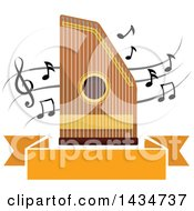 Zither Instrument Over Music Notes And A Banner