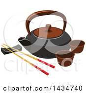 Japanese Tea Set And Chopsticks On A Rest