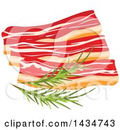 Clipart Of A Chunk Of Bacon Slices With Rosemary Sprigs Royalty Free Vector Illustration by Vector Tradition SM