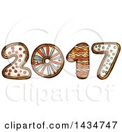 Clipart Of A Sketched New Year 2017 Made Of Gingerbread Cookies Royalty Free Vector Illustration by Vector Tradition SM