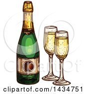 Clipart Of A Sketched Bottle Of Champagne And Glasses Royalty Free Vector Illustration