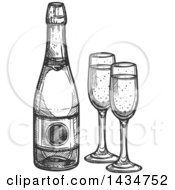 Clipart Of A Sketched Dark Gray Bottle Of Champagne And Glasses Royalty Free Vector Illustration by Vector Tradition SM