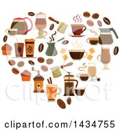Clipart Of A Heart Made Of Coffee Icons Royalty Free Vector Illustration