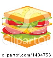 Clipart Of A Vegetarian Tomato Lettuce And Cheese Sandwich Royalty Free Vector Illustration by Vector Tradition SM