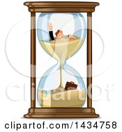Clipart Of A White Businessman Drowing In An Hourglass Royalty Free Vector Illustration