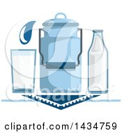 Clipart Of A Milk Can Bottle And Glass Royalty Free Vector Illustration