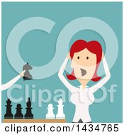 Clipart Of A Flat Style Red Haired Caucasian Business Woman Losing A Game Of Chess Royalty Free Vector Illustration