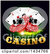 Clipart Of A Casino Design With Dice Playing Cards And Poker Chips Royalty Free Vector Illustration