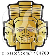Clipart Of A Golden Three Headed Mask Royalty Free Vector Illustration by Lal Perera