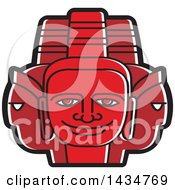 Clipart Of A Red Three Headed Mask Royalty Free Vector Illustration by Lal Perera