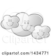 Clipart Of A Gray Happy Cloud Family Royalty Free Vector Illustration by Lal Perera
