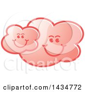Clipart Of A Pink Happy Cloud Family Royalty Free Vector Illustration by Lal Perera