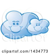 Clipart Of A Blue Happy Cloud Family Royalty Free Vector Illustration by Lal Perera