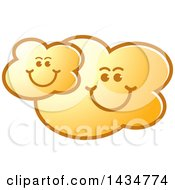 Clipart Of A Yellow Happy Cloud Family Royalty Free Vector Illustration by Lal Perera