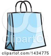 Clipart Of A Blue Gift Or Shopping Bag Royalty Free Vector Illustration