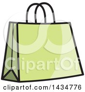 Clipart Of A Green Gift Or Shopping Bag Royalty Free Vector Illustration