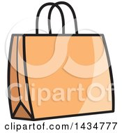 Clipart Of An Orange Gift Or Shopping Bag Royalty Free Vector Illustration