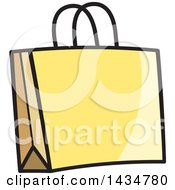 Clipart Of A Yellow Gift Or Shopping Bag Royalty Free Vector Illustration
