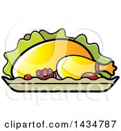 Clipart Of A Roasted Chicken On A Platter Royalty Free Vector Illustration
