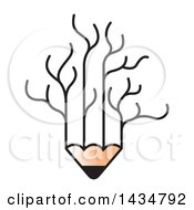 Clipart Of A Pencil With Bare Tree Branches Royalty Free Vector Illustration by Lal Perera